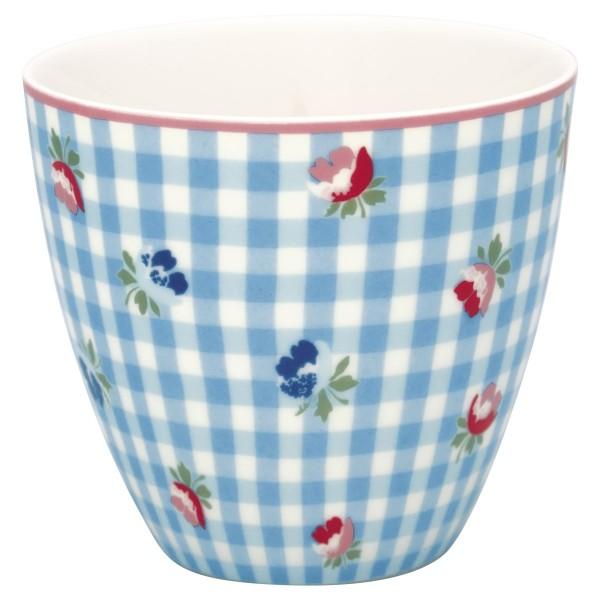 Latte cup Becher Viola check pale blue