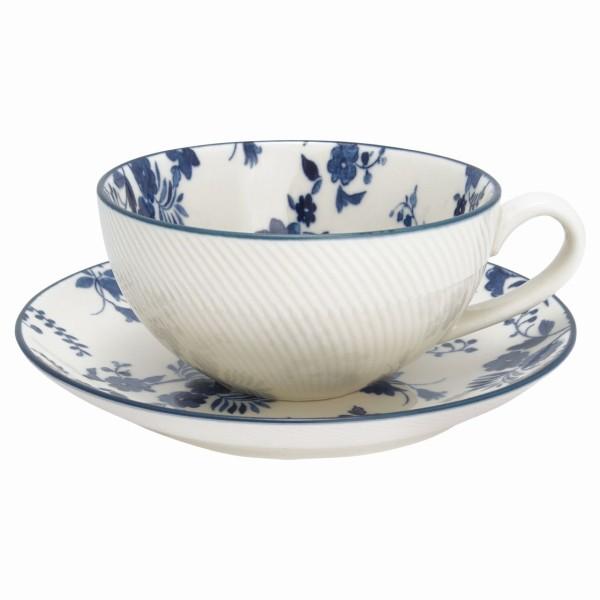 Tasse mit Unterteller Vanessa Blue