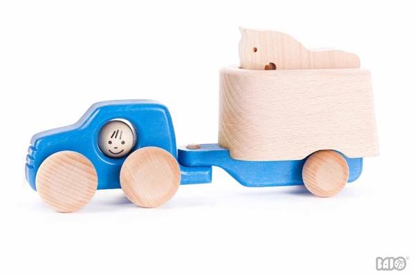 Holzauto mit Pferdeanhänger blau