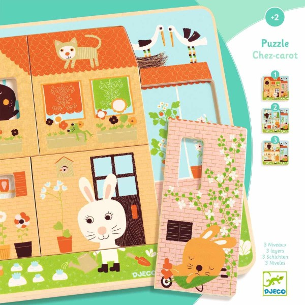 3 Schichten Puzzle - Hasenhaus