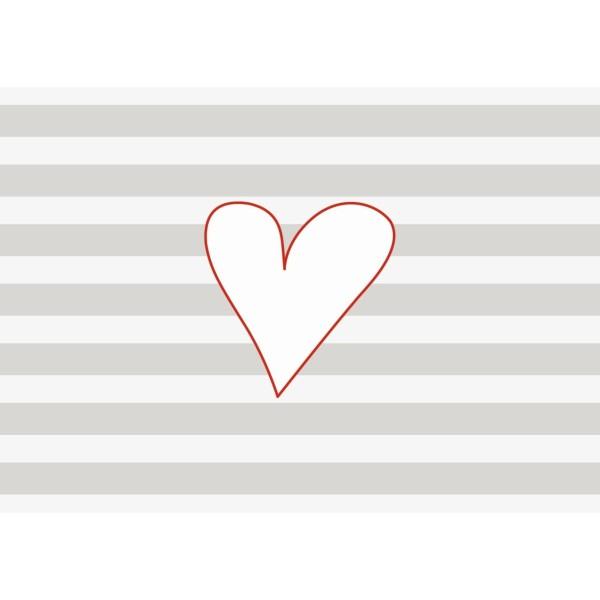 Postkarte quer Streifen grau Herz