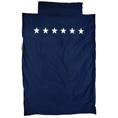 Bettwäsche silber Sterne blau