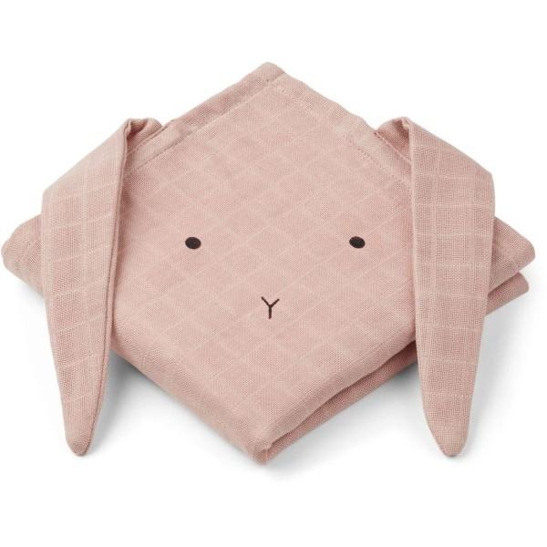 Mulltuch Hase rosa 2er Set