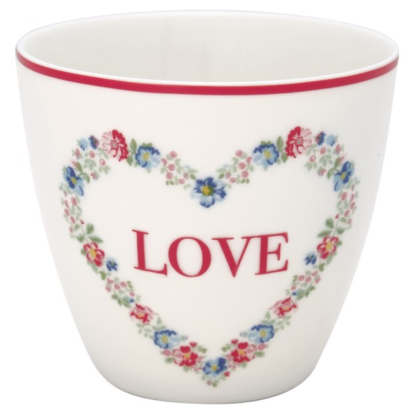 Latte cup Becher Heart love white