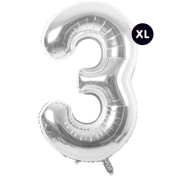 Folienballon 3 silber XL