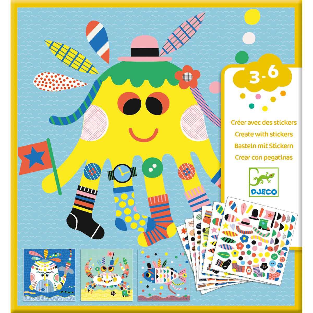 Sticker Vorlage Meerestiere Djeco Bastelpackungen Djeco