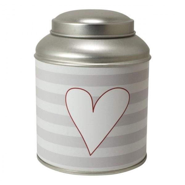 Geschenkdose Streifen grau Herz
