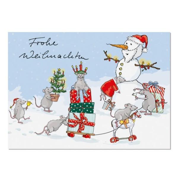 Postkarte Weihnachtsmäuse