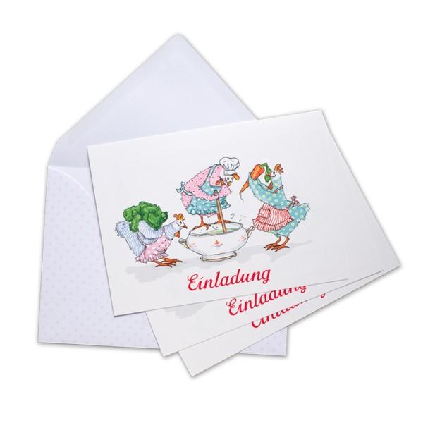 Einladungskarten Suppenhühner
