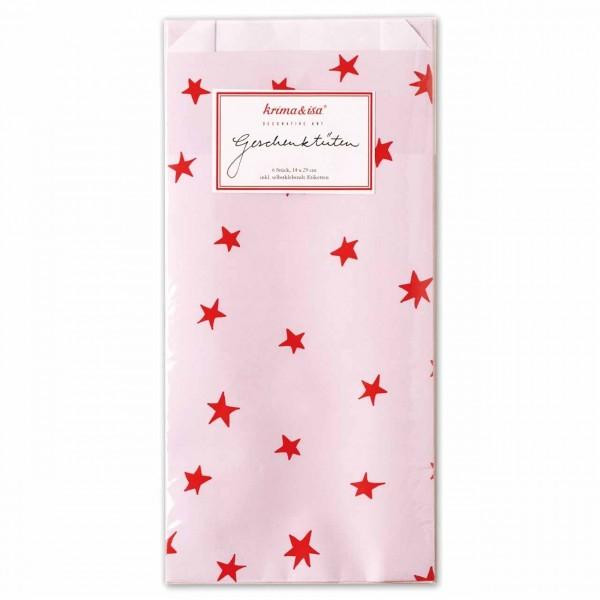 Geschenktüte Sterne rosa rot