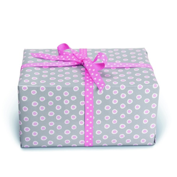 Geschenkpapier Tupfer Grau