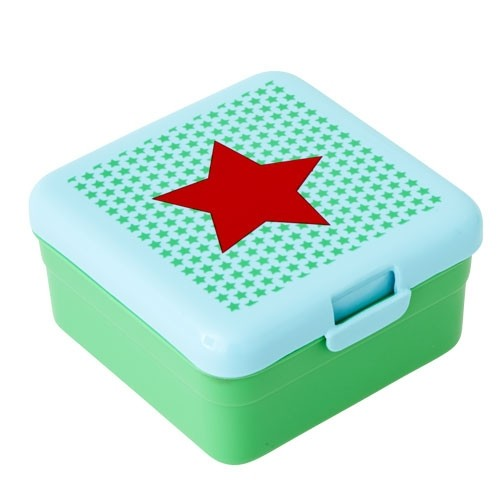 Kids Small Lunch Box with Boy Star Print - Green & Turqouise