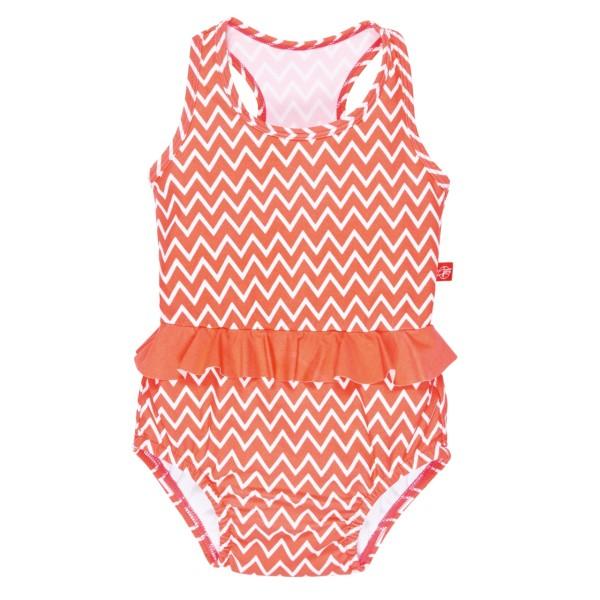 Badeanzug Mädchen, 18 Monate, zigzag peach