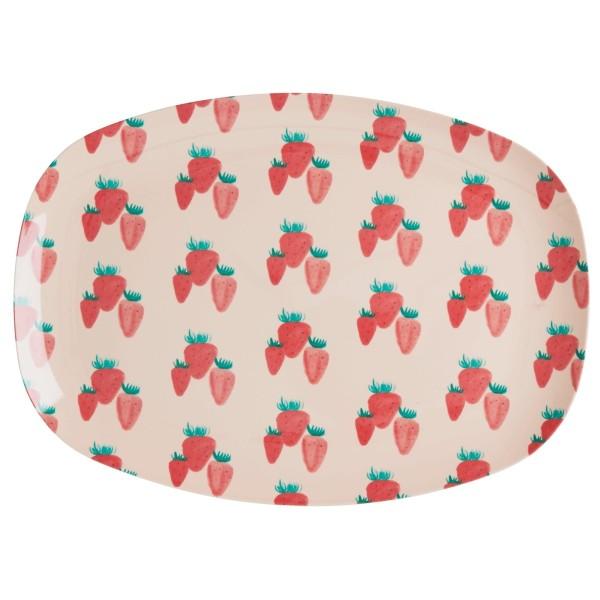 Melamin Teller oval Erdbeere