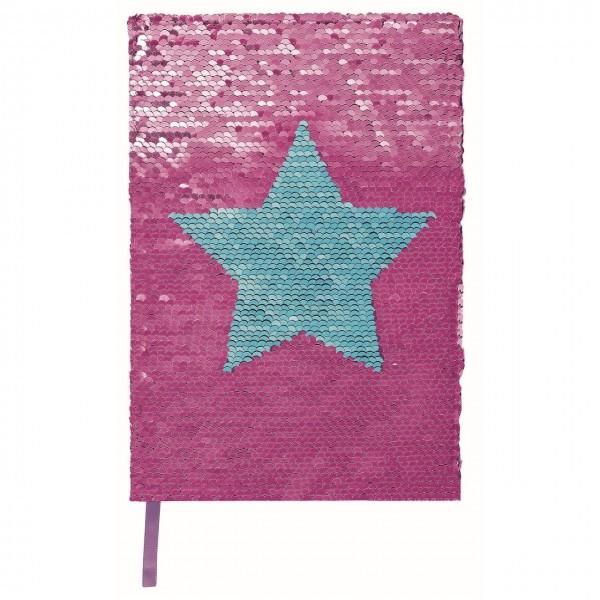 Notizbuch mit glitzernden Wendepailletten rosa