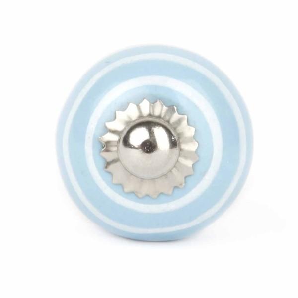 Möbelknauf Streifen hellblau/weiß klein