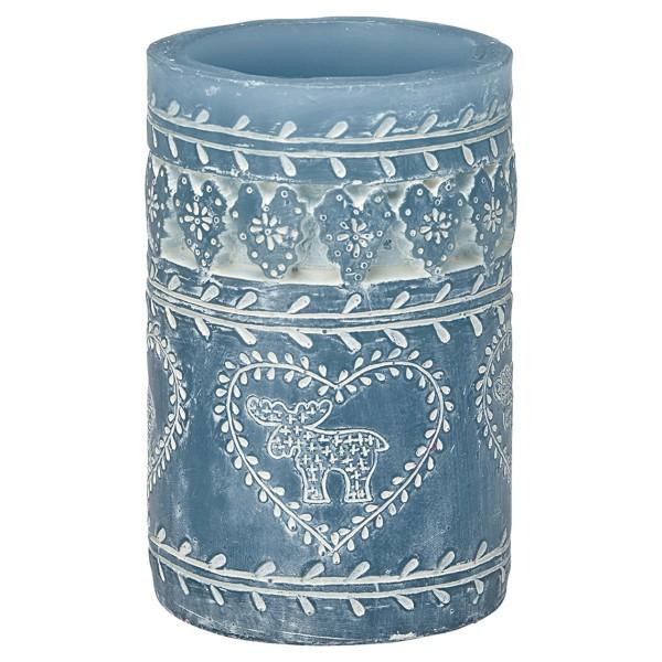 Kerze Pfeiler in dusty blue