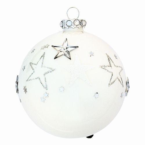 Weihnachtskugel perlweiß, glänzend, Sterne