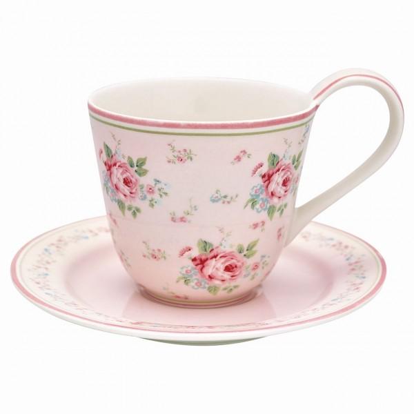 Tasse mit Unterteller Marley pale pink