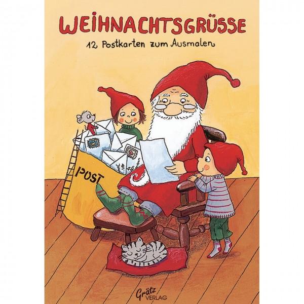 Weihnachtsgrüße Postkarte.Weihnachts Postkarten Malbuch A6 Wichtel Weihnachtsgrüße Von Graetz Verlag