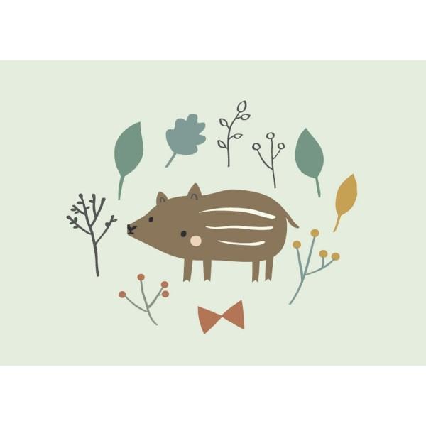 Postkarte Wildschweinbaby
