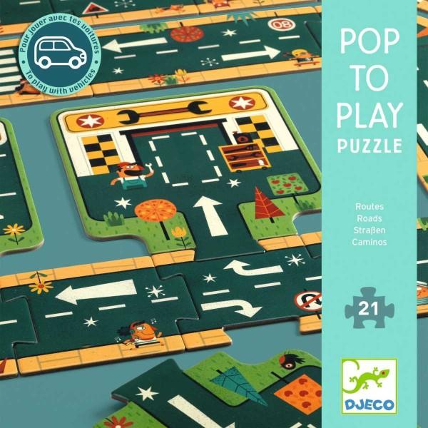 DJECO Bodenpuzzle: Strassen - 21 Teile