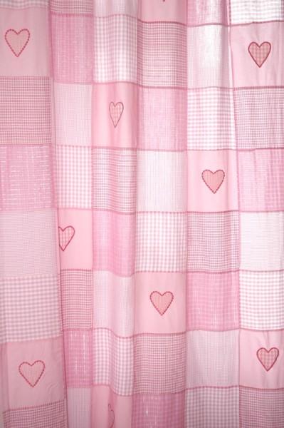 Gardinen Patchwork Herzen rosa