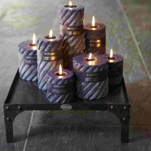 Kerze Swirl Aubergine Groß