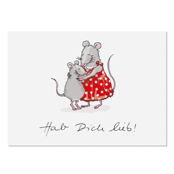 Postkarte Hab dich lieb Maus