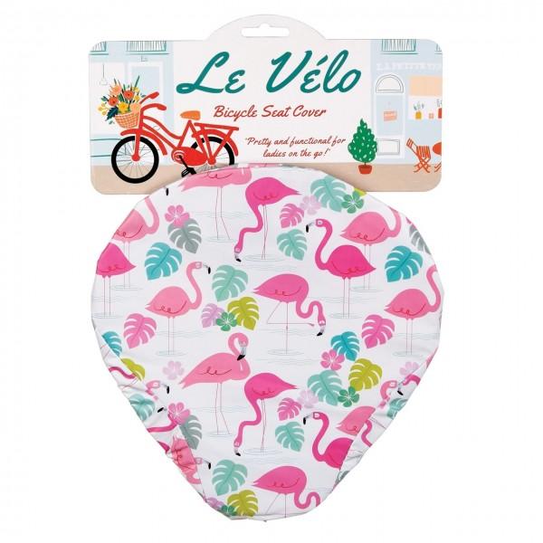 Fahrradsattel Regenbezug Flamingo