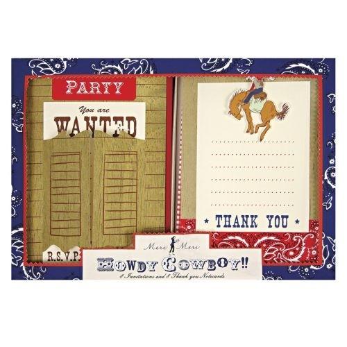 Einladen + Dankeschön Set Howdy Cowboy
