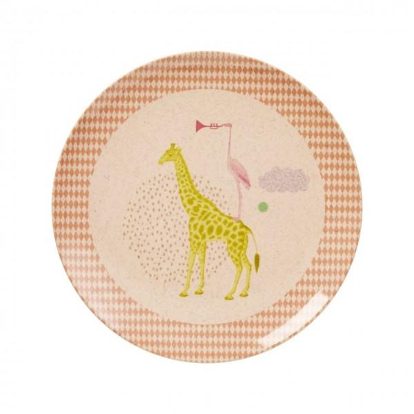 Bambus Melamin Teller Girls Animal Print