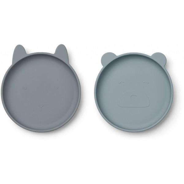 Teller Olivia blau/grau 2er Set