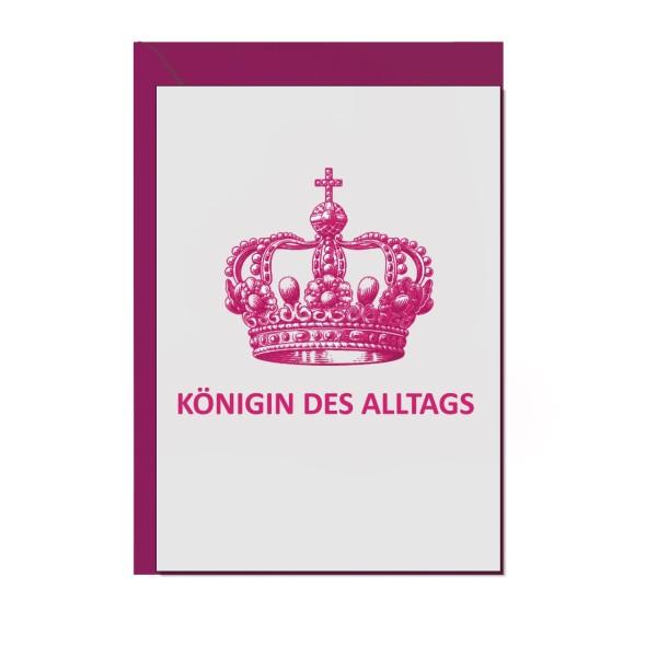 Faltkarte hoch, Königin des Alltag, neon pink