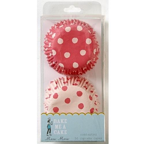 Muffinförmchen rot/rosa gepunktet