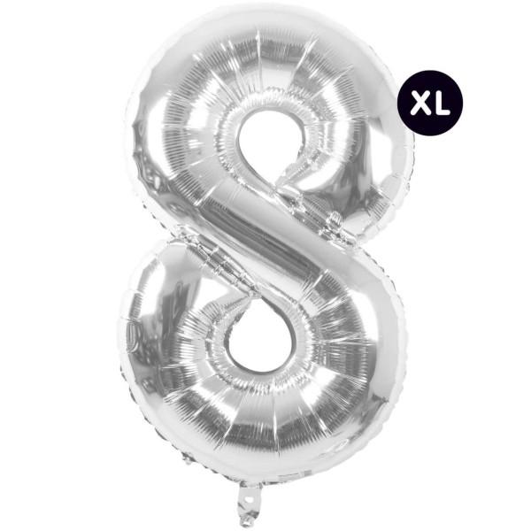 Folienballon 8 silber XL