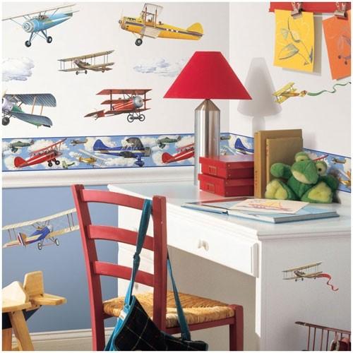 Tapetenbordüre Vintage Plane