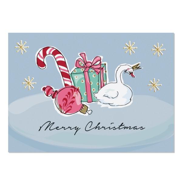 Postkarte Weihnachtsschwan