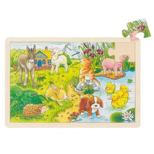 Holzpuzzle Tierkinder