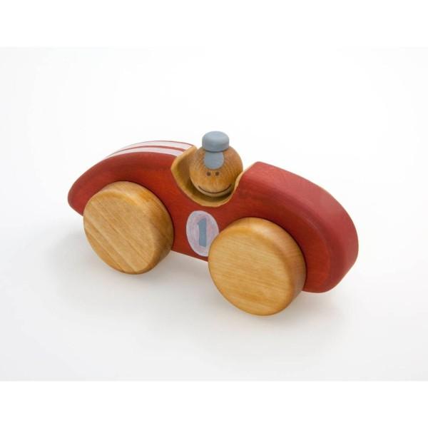 Holzspielzeug roter Rennwagen