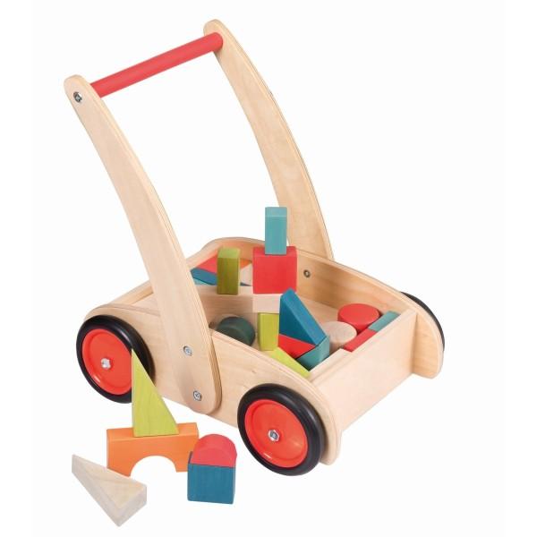 Lauflernwagen mit Holzklötzen