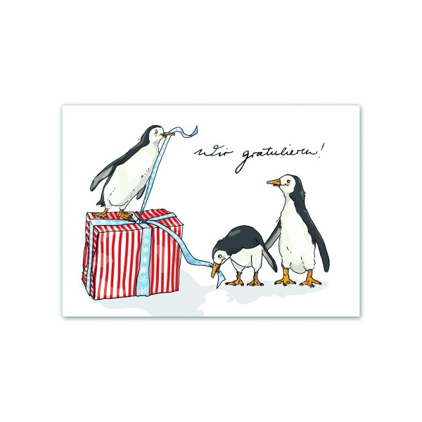Postkarte Pinguin