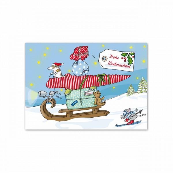 Postkarte Schlitten
