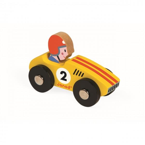 Rennwagen Holz gelb