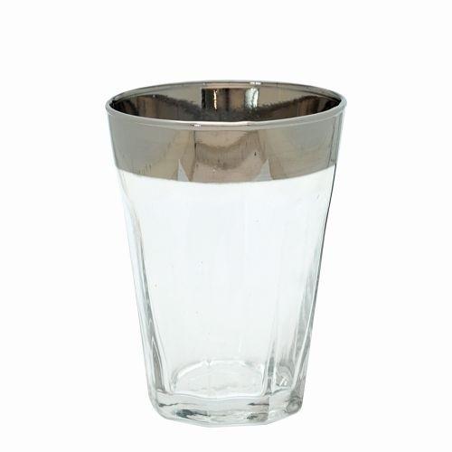 Wasserglas mit Silberrand