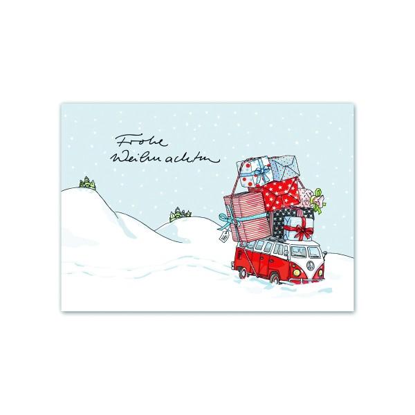 Postkarte Weihnachtsbus