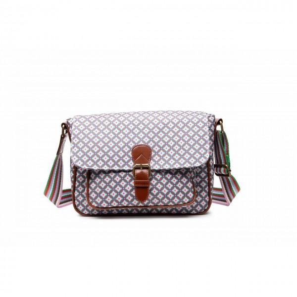 Handtasche Saddle Bag Canvas Geometric Rose small