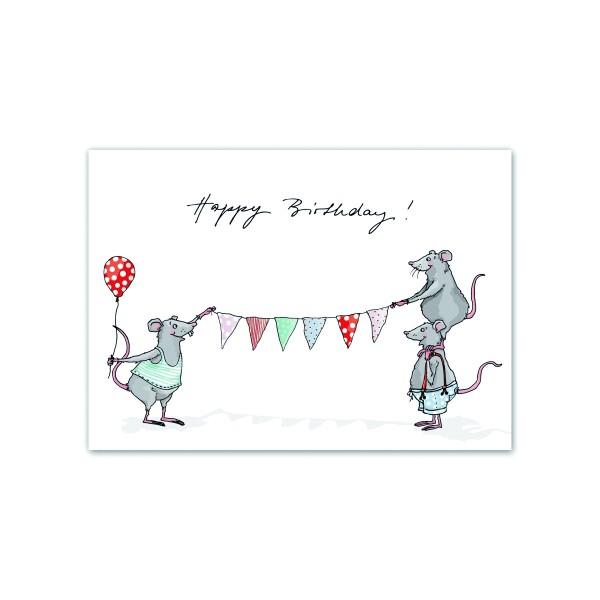 Happy Birthday Postkarte Wimpelmäuse