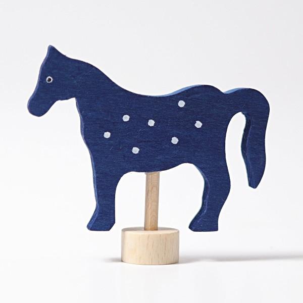 Steckfigur Pferd blau