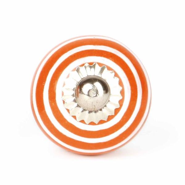 Möbelknauf Streifen orange/weiß klein